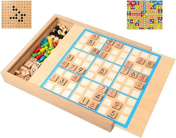 Juguetes para niños, Juegos de Mesa 5 en 1 ajedrez Individual, ajedrez Volador, Backgammon, cuadrícula 4/6/9 Juegos de Mesa de Madera multifuncionales Juguetes educativos: Amazon.es: Hogar