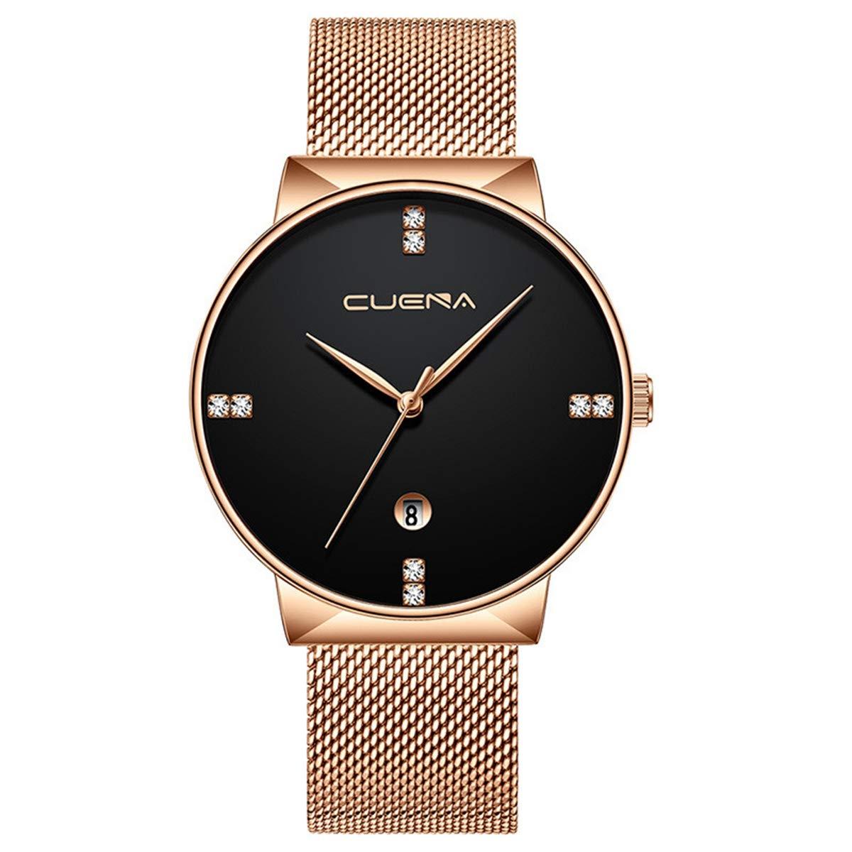 ZODRQ Men's Watch,Fashion Life Waterproof Sport Watches Stainless Steel Mesh Wrist Watch Wristwatch Date Quartz Watch Gift (D) by ZODRQ