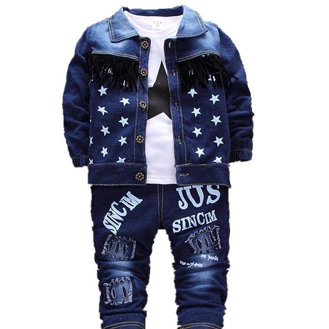 Amazon.com: jieya Baby Boys Jeans 3 piezas Star Printed ...