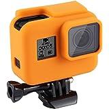 Funda para GoPro HERO 6 y HERO 5, Bullspring cubierta de silicona/funda protectora para GoPro Hero 5/Hero 6 cámara deportiva con cubierta de tapa de lente suave de silicona (Orange)