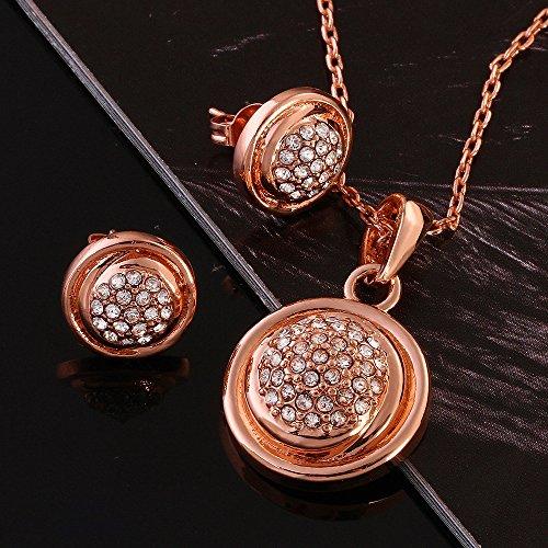 Chapado en oro YLR rosa y sintética perlas de cristal encanto lujo joyería colgante Neckalce pendientes niñas conjuntos de las mujeres, dorado, STYLE 2