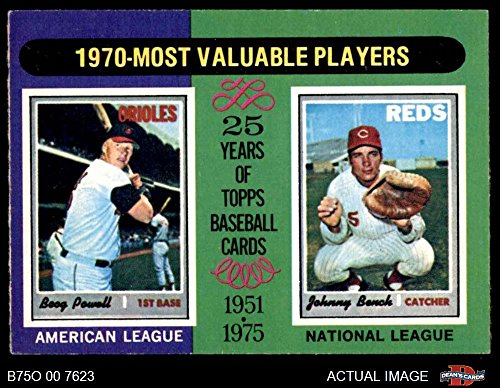 (1975 O-Pee-Chee # 208 1970 MVPs Boog Powell/Johnny Bench Cincinnati Orioles/Reds (Baseball Card) Dean's Cards 6 - EX/MT Orioles/Reds)