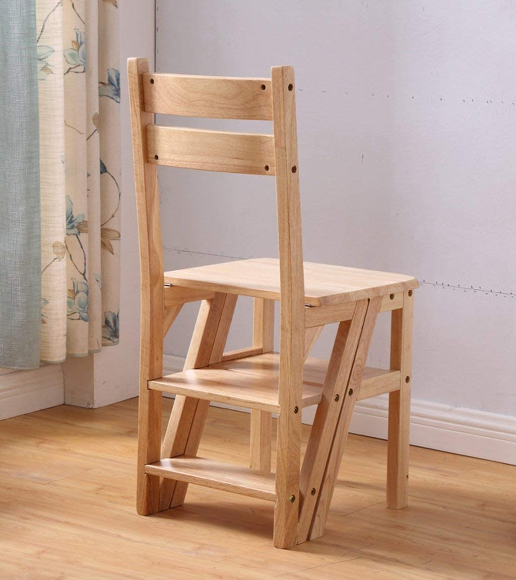 ZGYQGOO Step Stool Chairs Seats Folding Backrest Multifunctional Ladder Dual-use High Stool Shelf Rubber Wood, Height 90cm, 2 Colors Folding Ladder Chair (Color : A) A