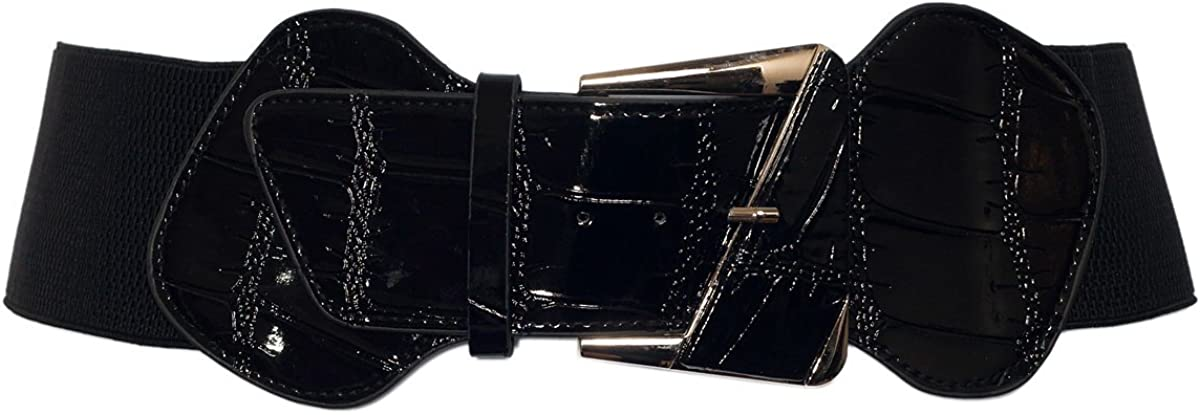 eVogues Plus Size Leatherette Elastic Fashion Belt Black
