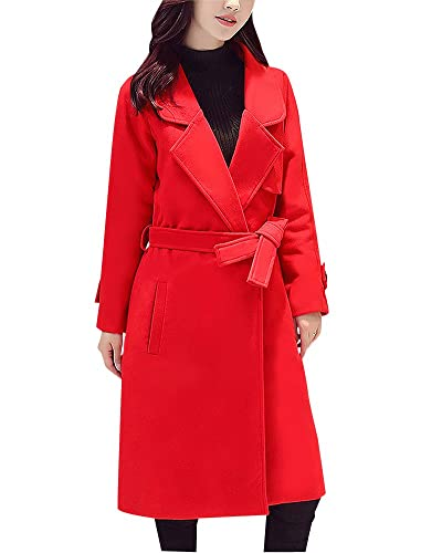 Mujeres Slim Fit Abrigos Parka de Chaqueta Outwear Casual Largo Cardigan Trench Coat Rojo XS