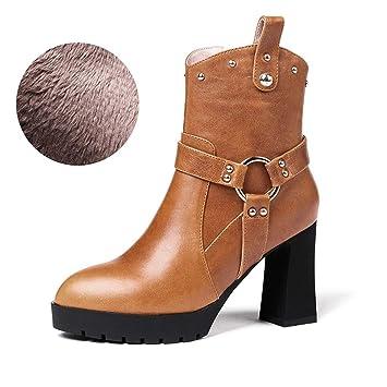 HEmei Botines para Mujer, Botines de tacón Alto Cuadrados Invierno Plus Terciopelo Cremallera Lateral Moda de tacón Alto Gruesa Botas Martin (Color ...