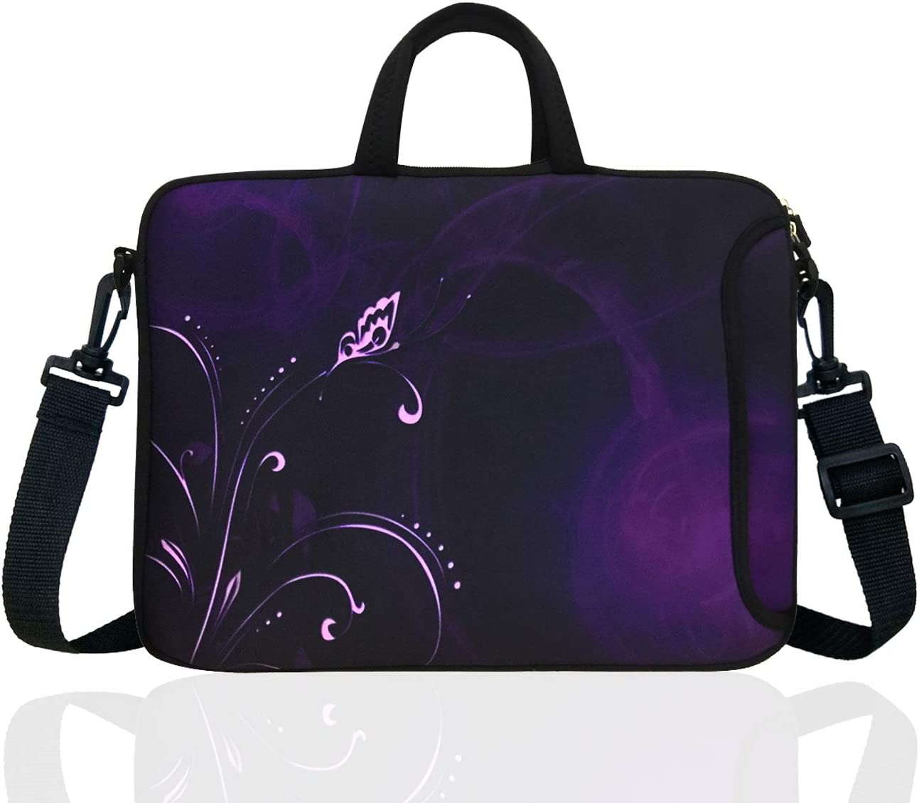 "15-Inch to 15.6-Inch Neoprene Laptop Shoulder Messenger Bag Case Sleeve For 14 14.1 15 15.6"" Inch Acer/Asus/Dell/Lenovo/Thinkpad/HP/Macbook Pro/Air (Purple Flower)"