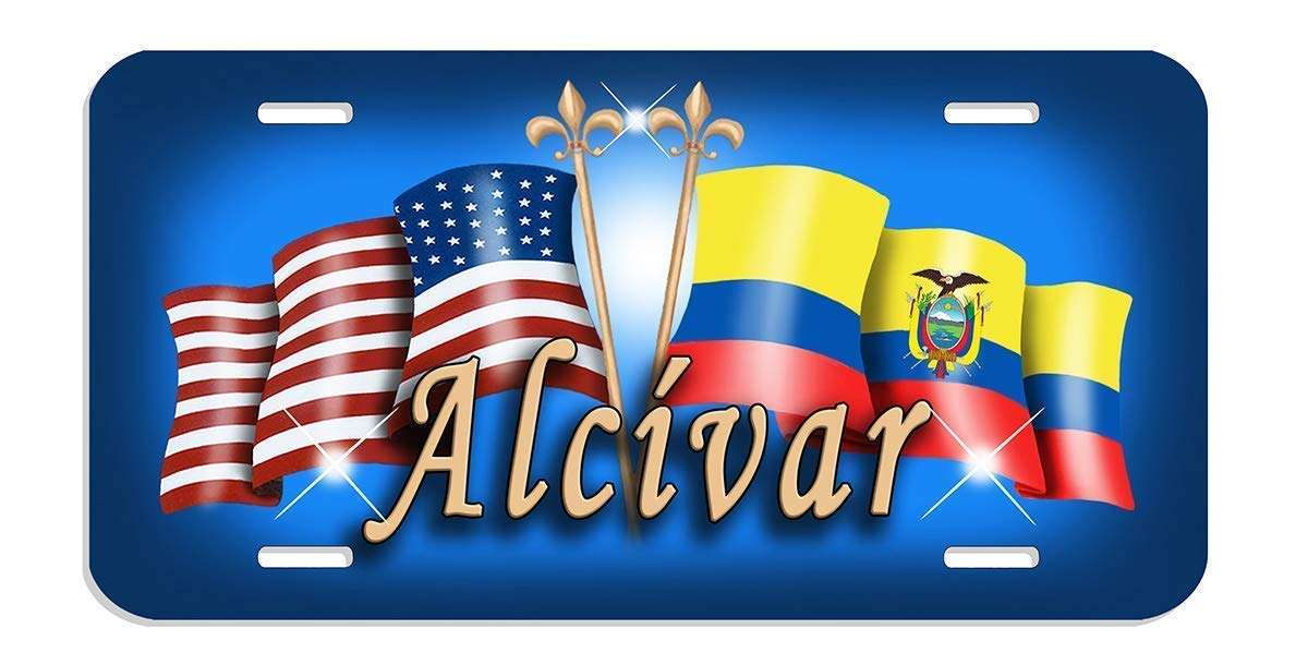 USA Ecuador Unity Flags Auto Size License Plate Gifts Ladies Men Car Accessories Flag of Ecuador Personalize