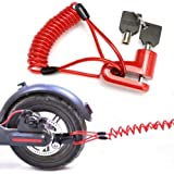 Seway Disc Brake Lock for Electric Scooter, Anti-Theft Padlock Wheel Security Lock 6mm Pin with 5 ft Reminder Cable Snackle f