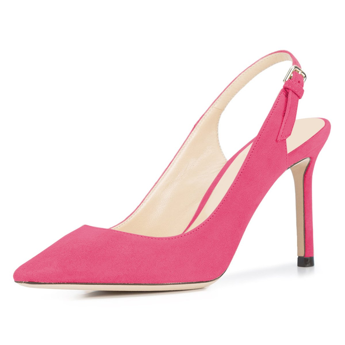 NJPU Women Pointed Toe Slingback Pumps Stiletto High Heels Office Shoes with Buckle B07C2QC49V 8 B(M) US|Pink