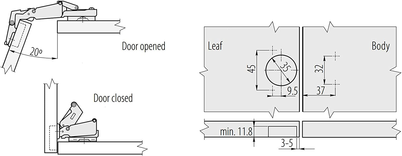 de 35 mm y 165 grados ZEO Bisagra de puerta de GTV para esquinas de cierre suave