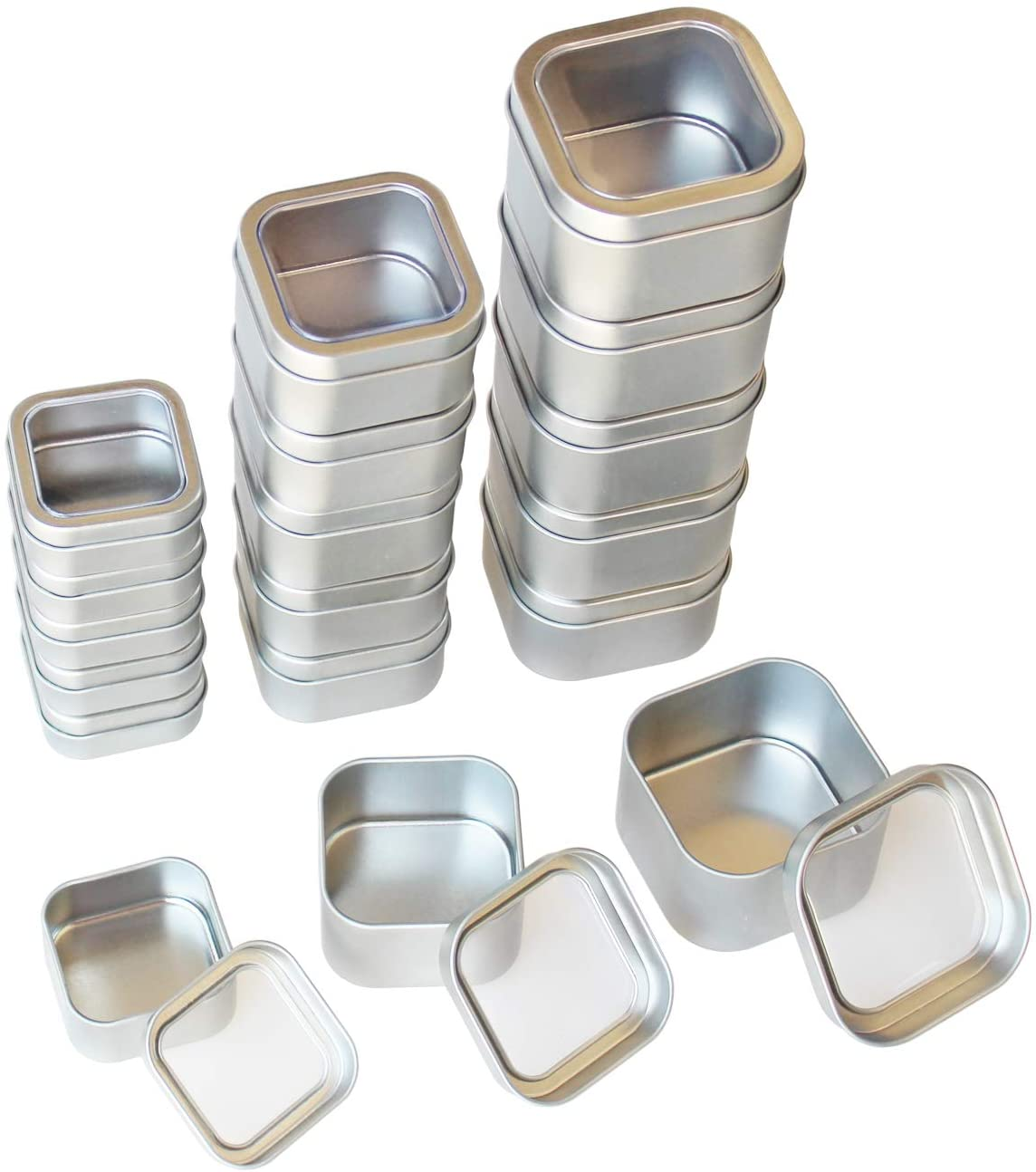 18-Pack Empty Square Silver Metal Tins with Clear Window for Candle Making, Candies, Gifts & Treasures, Mixed Sizes