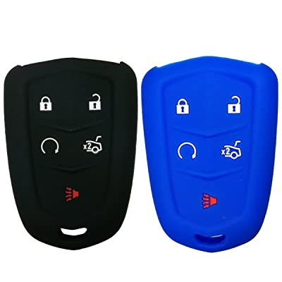 2Pcs Coolbestda 5 Buttons Key Fob Cover Remote Case Keyless Entry Wallet for 2020 2020 2016 Cadillac CT6 XT5 CTS XTS SRX ATS HYQ2AB HYQ2EB Black Blue: Car Electronics