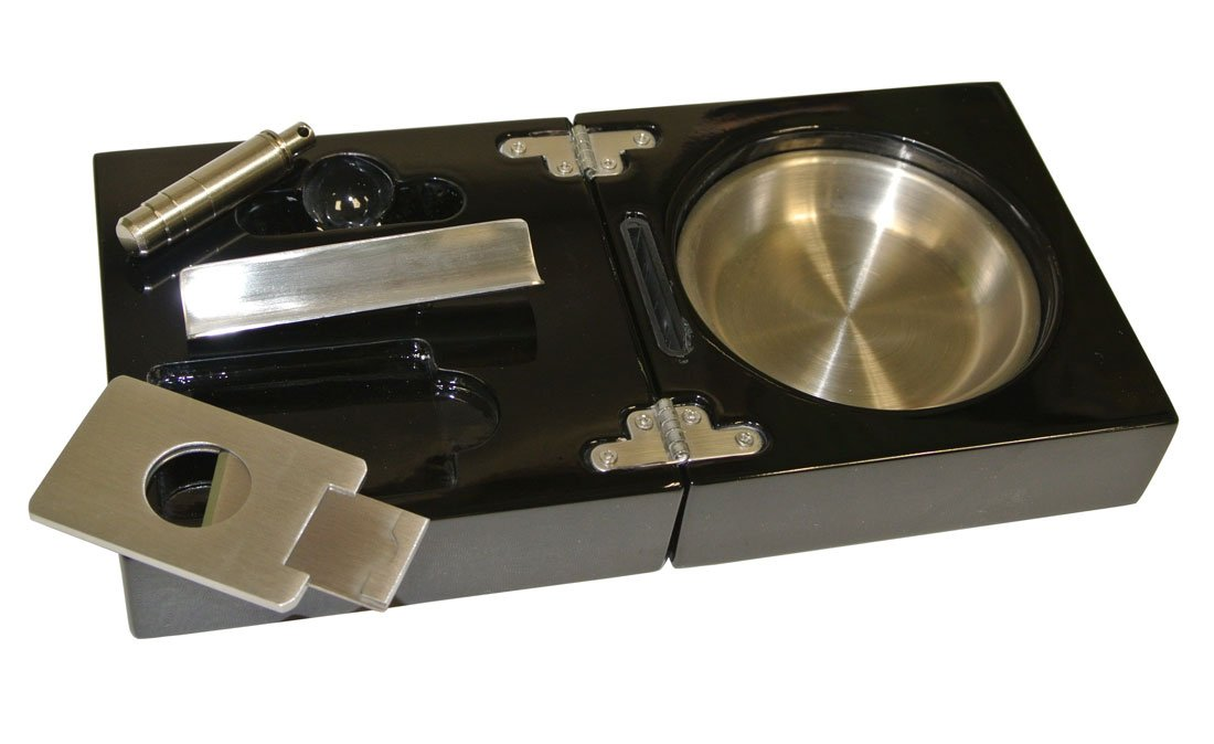 Visol Bremen Black Lacquer Folding Cigar Ashtray with Cutter and Punch