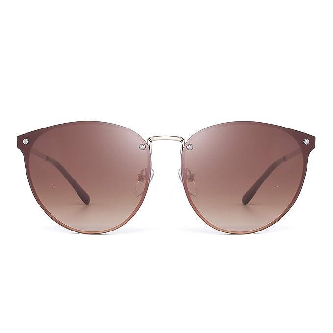 1903422923 Ojos de Gato Redondo Sin Marco Gafas de Sol Plano Espejo Sombra de Metal  Gradiente Para