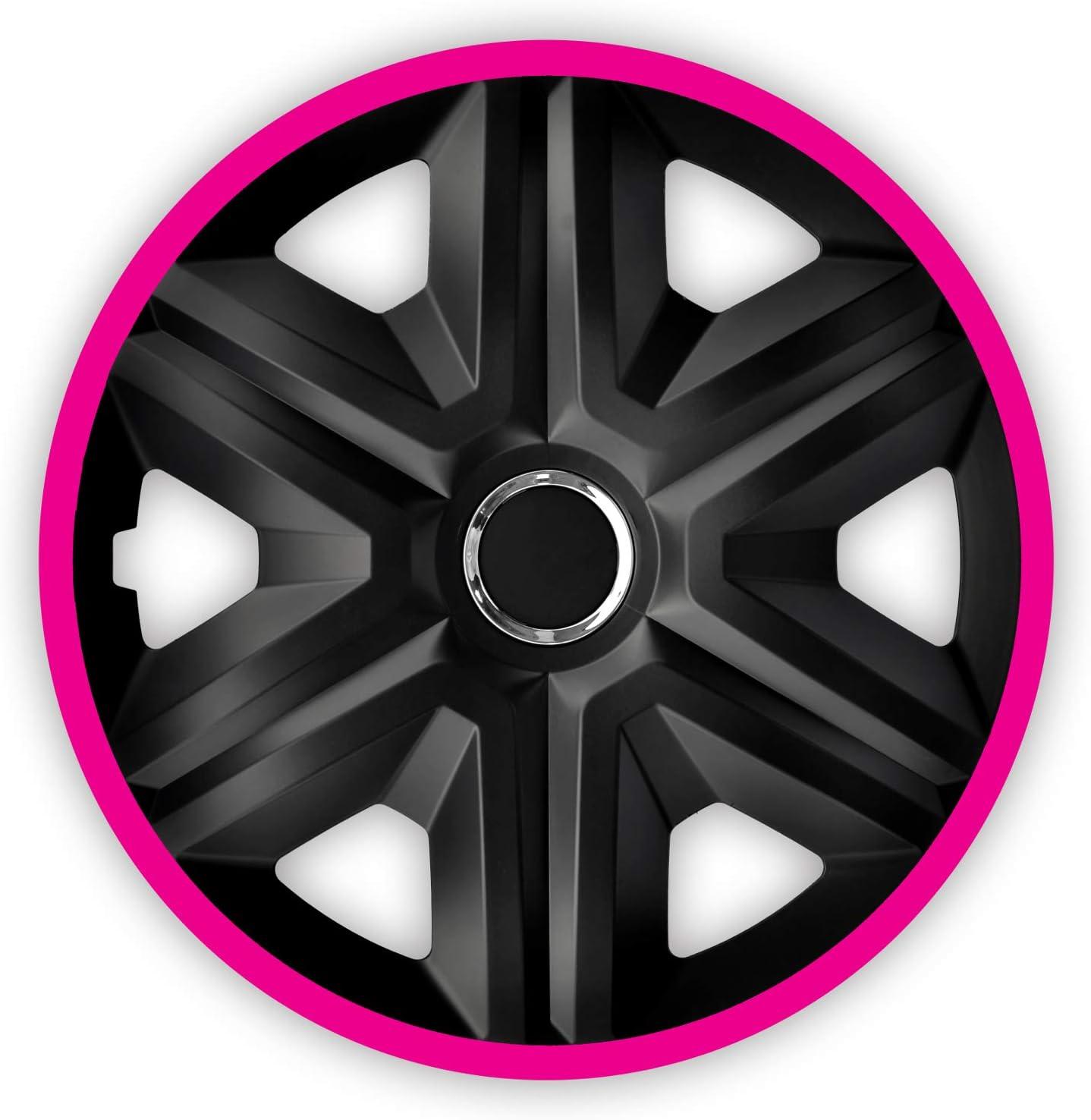 Schwarz//Pink, 15 NRM Fast LUX 4X Universal Radkappen Radzierblenden Radblenden Auto KFZ 4 St/ück
