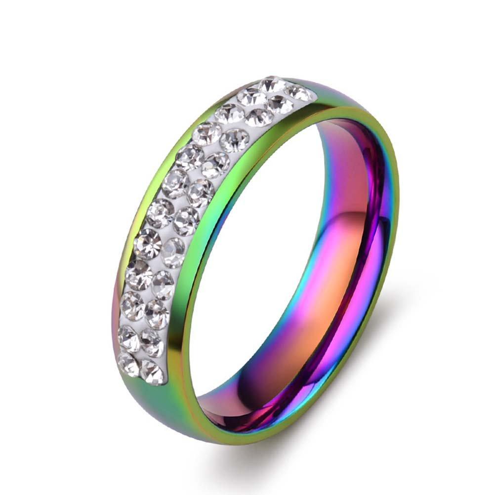 Amazon Com Wchuang 5mm Titanium Stainless Steel Rainbow Wedding
