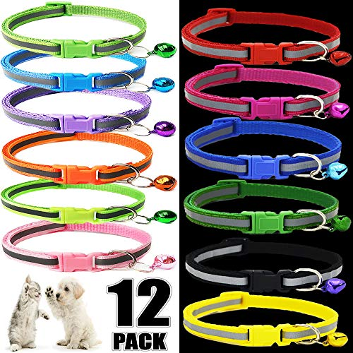 Pet ID Puppy Collar - Super Soft Nylon Whelping Puppy Collars - Adjustable Breakaway Litter Collars For Pups - Assorted Colors Reflective Plain & Camouflage Identification Collars - Set of 12 (S)