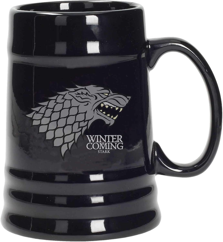 Juego de Tronos - Jarra de cerámica diseño Stark, color negro (SD Toys SDTHBO02897)- Stark Jarra Cerámica Game Of Thrones, Color, 10 X 12 X 14 cm (SDTHBO02897)