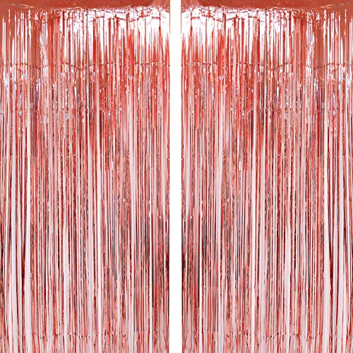 Rose Gold Foil Fringe Curtains Tinsel Foil Fringe Curtains Photo Backdrop Birthday Wedding Party Decor Happy New Year Photo Booth Props Backdrops Decorations ()