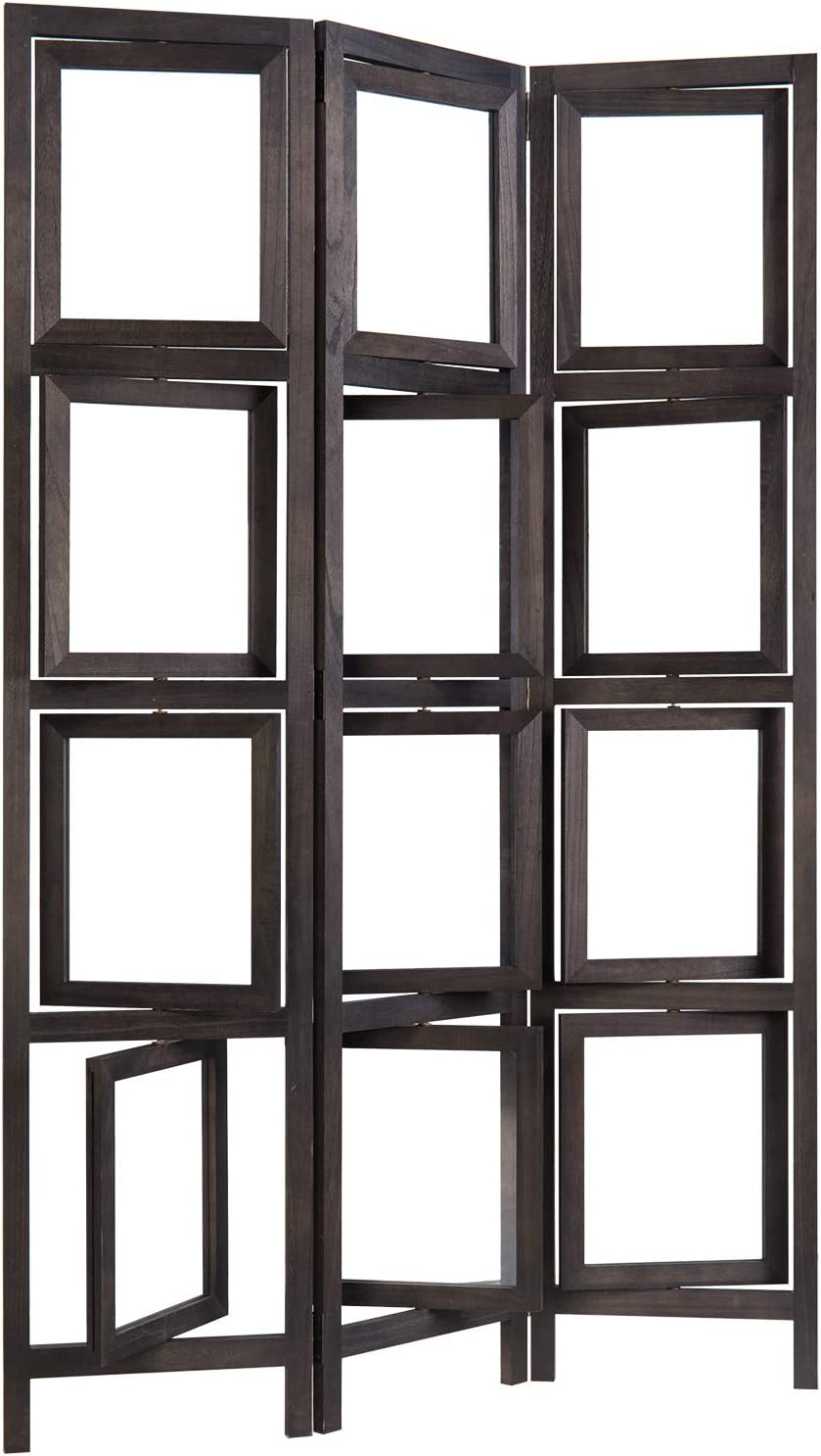 MyGift 3-Panel Vintage Dark Brown Folding Double-Sided Rotating Photo Frame Room Divider Screen