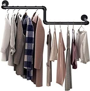 SUNMALL Industrial Pipe Clothing Rack, Wall Mounted Garment Rack, Clothes Racks for Hanging Clothes, Heavy Duty Clothes Rod Bar for Laundry Room