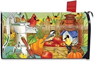 Autumn Display Birds Mailbox Cover Apples Pumpkins Fall Standard, 18x21 Magnetic Mailbox Wraps