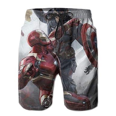 6e119ccf12752 Captain.America Mens Swim Trunks Summer Quick Dry Board Shorts Elastic  Waist Swimwear Bathing Suit