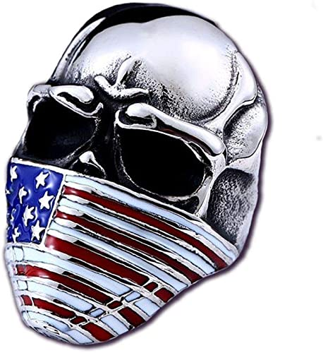 Men/'s Stainless Steel Skull Ring Colored USA American Flag Mask Biker Jewelry