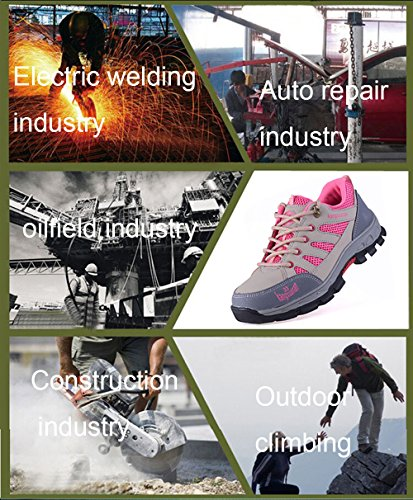 Shoes Steel Footwear and Construction Toe Puncture Safety JACKSHIBO Shoes Industrial With Pink Proof Work xIEwTARqZ