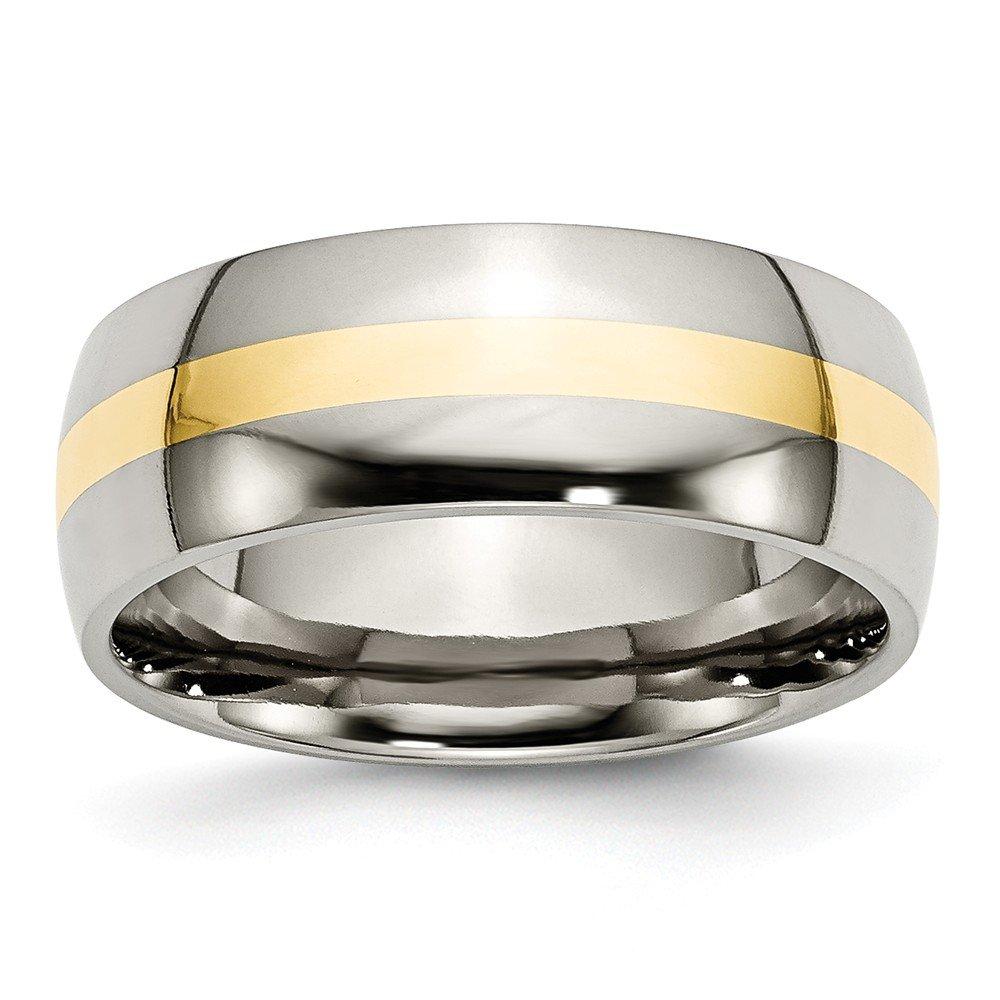 Chisel Titanium 14K Yellow Inlay 8mm Polished Band - Size 13.5