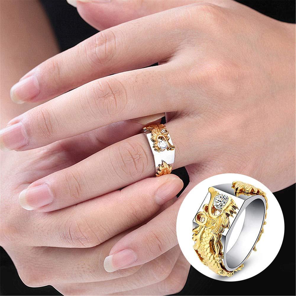 Ring Opeof Men Women Shiny Rhinestone Ring Fashion Dragon Shape Band Jewelry Party - Golden US 10