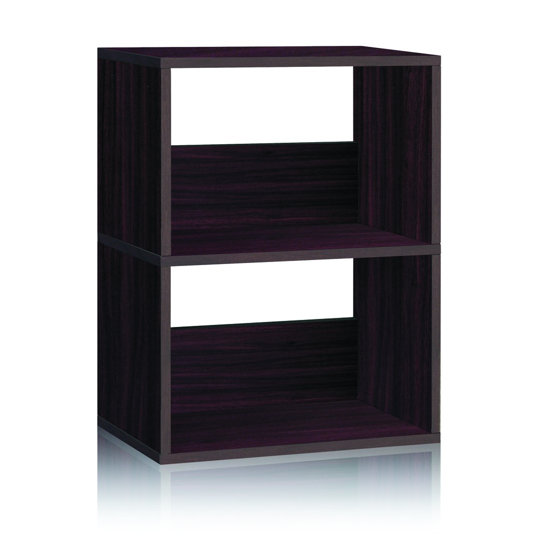Way Basics Eco 2 Shelf Duplex Bookcase and Storage Shelf, Espresso (made from sustainable non-toxic zBoard paperboard)