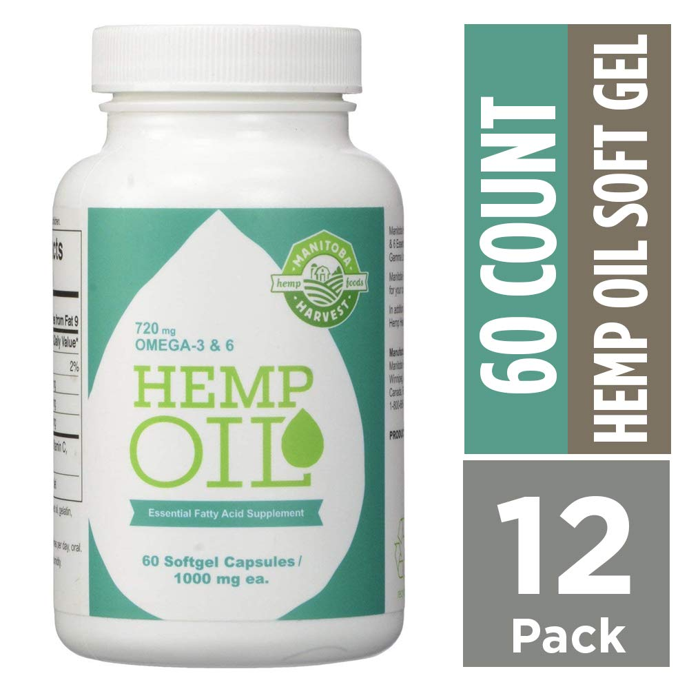 Manitoba Harvest Hemp Oil Softgels, 1000mg, 10g Omega 3&6 per serving, 60 Count (Pack of 12) - Zero CBD
