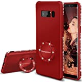 Henpone Note 8 Phone Case Glitter Red Cute Cases for Girls Girl with Kickstand Ring Stand Holder Luxury Bling Diamond Sparkly Cover