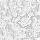 Paperproducts Design 1251107 Beverage/Cocktail Embossed Lace Royal Elegant Paper Napkin, 5 by 5-Inch, Silver/White