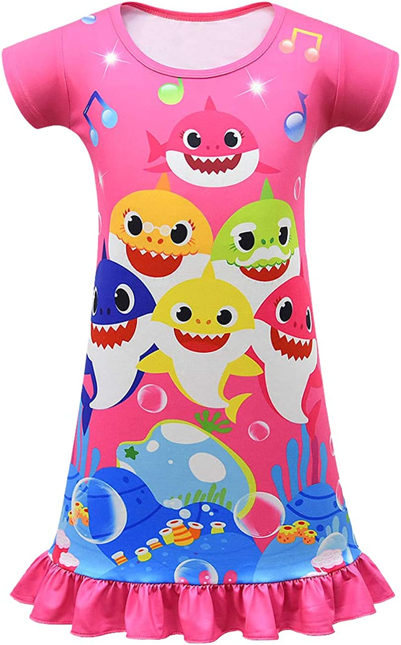 Jimdan Toddler Nightgown Cartoon Shark Print Nightdress Girl Short Sleeve Pajamas