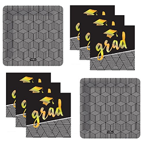 Graduation Party Plates And Napkins Black And Gold Foil Stamped With Black And White Designs - Serves 16 Guests