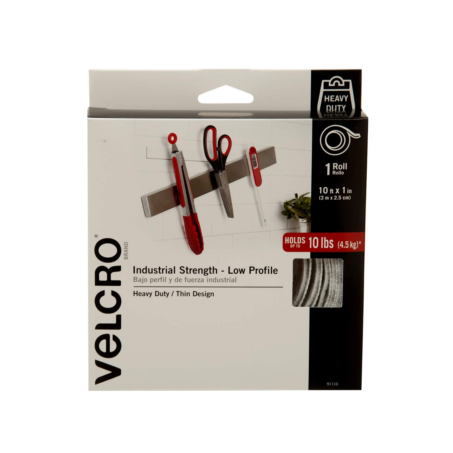 VELCRO Brand Industrial Superior Strength Thickness Size 10ft x 1in Tape Black