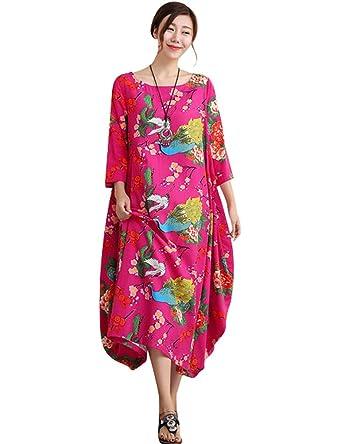 Youlee Frauen Herbst Blumenmuster Unregelmäßige Hem Baumwolle Leinen Kleid  Rosa