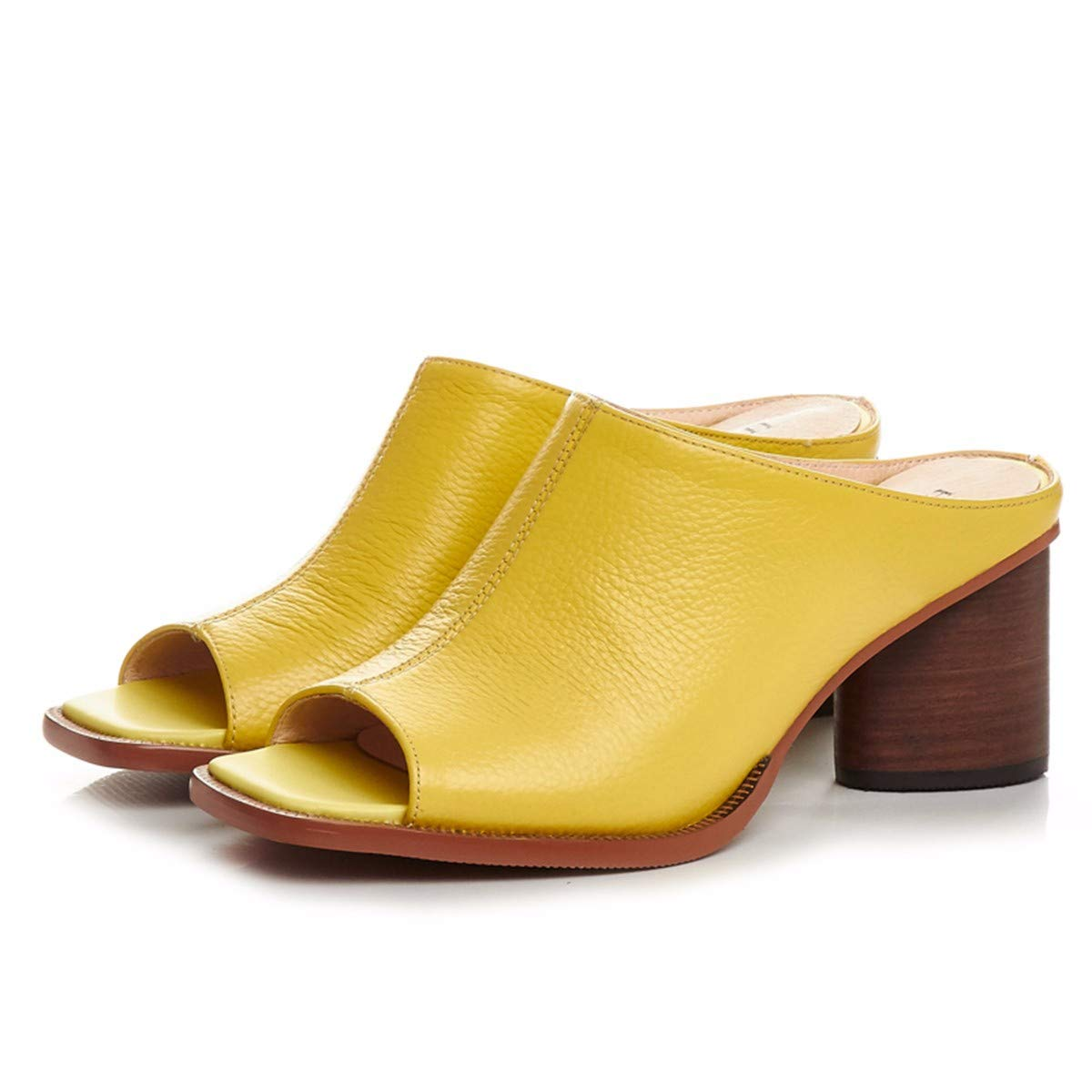 KPHY Damenschuhe Im Square Sommer Tragen Modische Square Im Rau Retro Müller-Schuhe Echtem Leder High Heels und Coole Schuhe 8 cm.35 Gelb d418a5