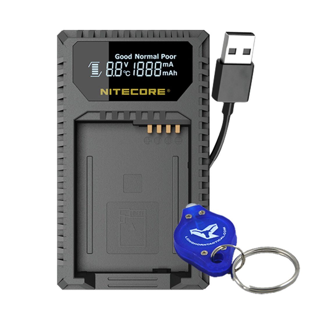Nitecore ULQ Digital USB Travel Charger for Leica BP-DC12 Batteries with Lumen Tactical LED Keychain Flashlight - Compatible with Leica Q (Typ 116), V-Lux (Type 114), V-Lux 4 Series Cameras by Nitecore