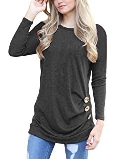a97ec34d9df848 ROSKIKI Women's Button Ruched Pullover T Shirt Blouse Long Sleeve Tunic Tops