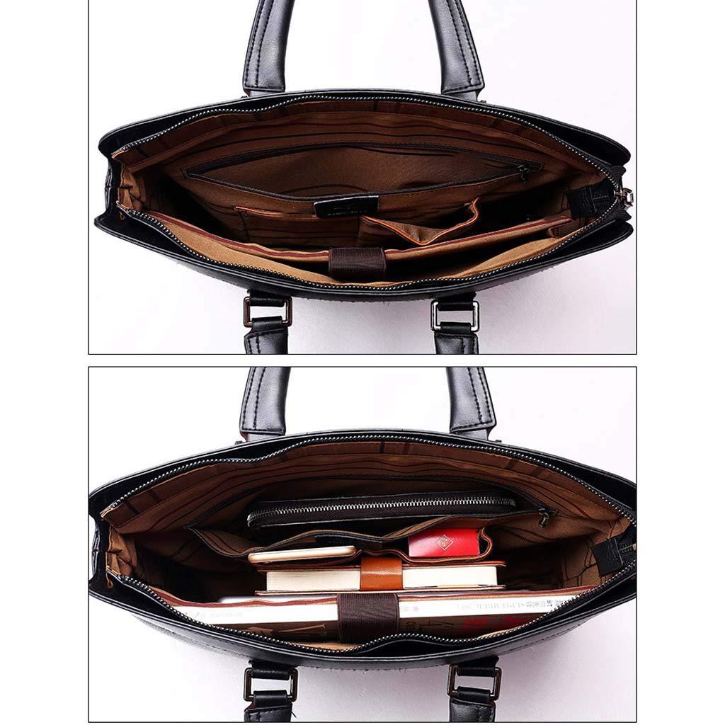 Cloud Mens Briefcase Shoulder Portable Diagonal Big Bag Business Casual Color : Brown, Size : 38.5cm