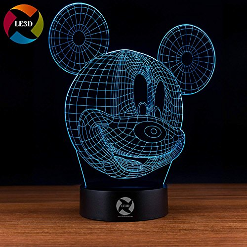 3D Optical Illusion Night Light - 7 LED Color Changing Lamp - Cool Soft Light Safe For Kids - Solution For Nightmares - Disney Mickey (Mickey Light)