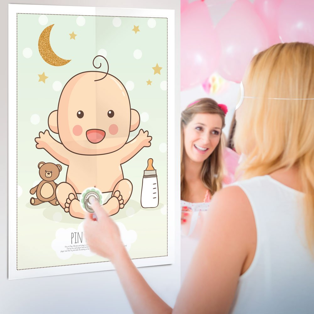 Pin the Dummy on the Baby Game Shower Party Games Boy Girl Unisex Multi Player