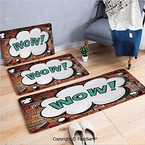 FashSam 3 Piece Flannel Doormat Red Cracked Brick Wall British Backdrop UK English Pop Art Cloud 90s Grunge for Kitchen Rugs Carpet(W15.7xL23.6 by W19.6xL31.5 by W31.4xL47.2)