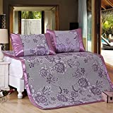 Zhiyuan Folding Non-Slip Peony Silky Synthetic Rattan Cooling Summer Sleeping Mat Pillowcases Set,Queen,Purple
