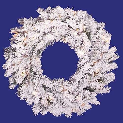 Alaskan Pine Wreath Clear Lights - Vickerman Pre-Lit Flocked Alaskan Pine Artificial Christmas Wreath with Clear Dura Lights, 36