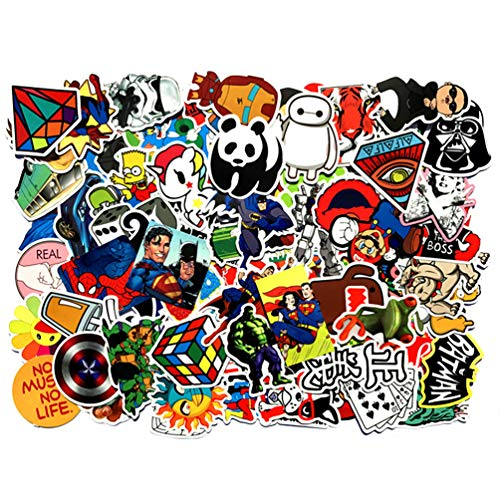 - NAVAdeal 100pcs Assorted Waterproof Vinyl Stickers, Perfect for Laptop, Phone Case, Helmet, Guitar, Skateboard, Luggage Graffiti, Travel Case, Motorcycle and Bicycle - (A)
